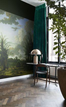 fototapet  tropisk landskab grønt, blåt og sennepsgrønt