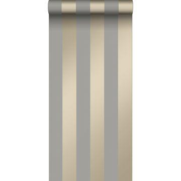 tapet striber mulvarpegråt og skinnende bronze