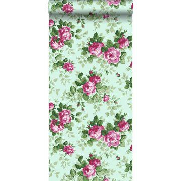 tapet roser celadon grønt og lyserødt