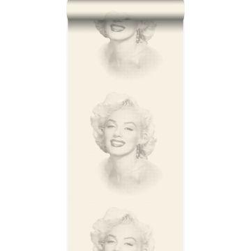 tapet Marilyn Monroe hvidt og gråt