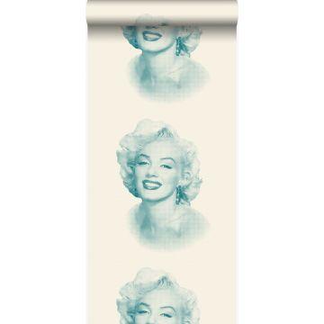 tapet Marilyn Monroe hvidt og turkis