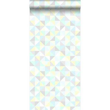 tapet trekanter mintgrønt, pastelgult, pastelblåt, varmt lysegråt og skinnende sølvgråt