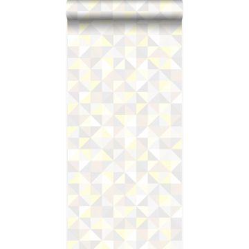 tapet trekanter lyst beigefarvet, varmt lysegråt, pastelgult og skinnende lysebeige