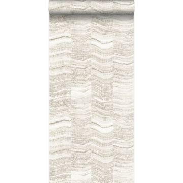 tapet zig-zag-striber af lagdelt marmor beige