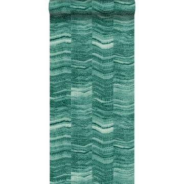 tapet zig-zag-striber af lagdelt marmor smaragdgrønt