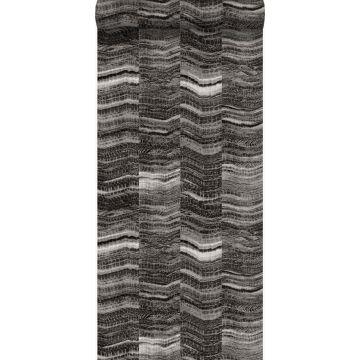 tapet zig-zag-striber af lagdelt marmor sort