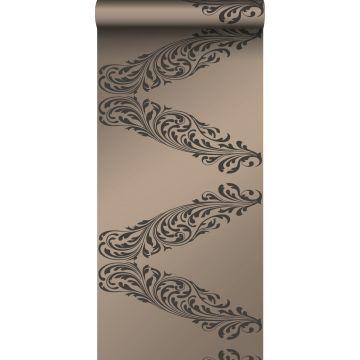 tapet ornament skinnende bronze og brunt