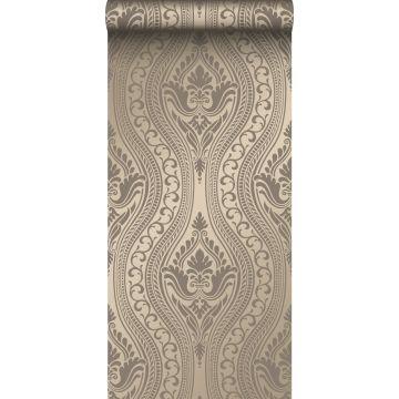 tapet ornament skinnende bronze