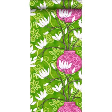 tapet magnolia grønt og lyserødt