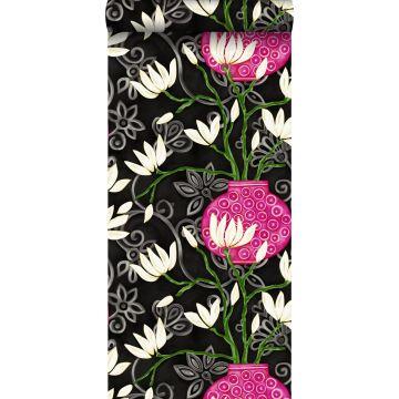 tapet magnolia sort og lyserødt