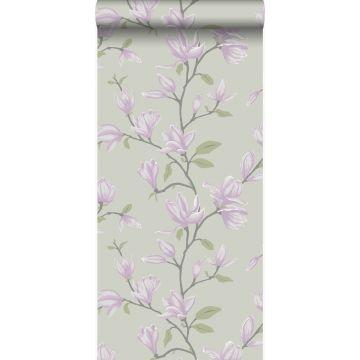 tapet magnolia havgrønt og lilla