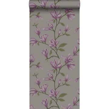 tapet magnolia mulvarpegråt og aubergine lilla