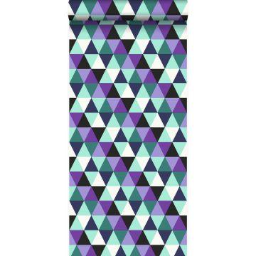 tapet grafiske trekanter lilla og lyst azurblåt