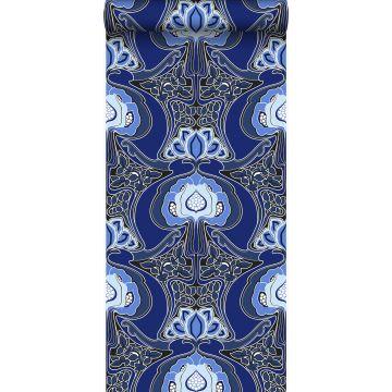 tapet Art Nouveau blomstermønster kongeblåt