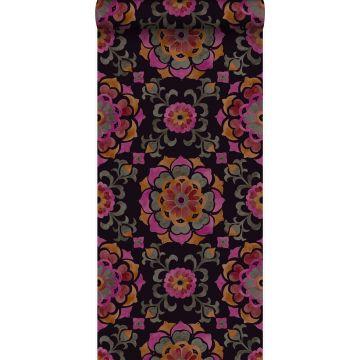 tapet suzani-blomster sort, orange og lyserødt