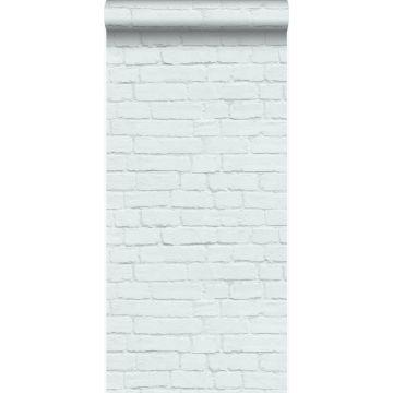 tapet vintagemalet murstensvæg mintgrønt