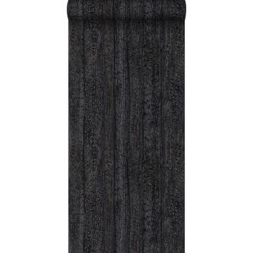 tapet træplanker sort