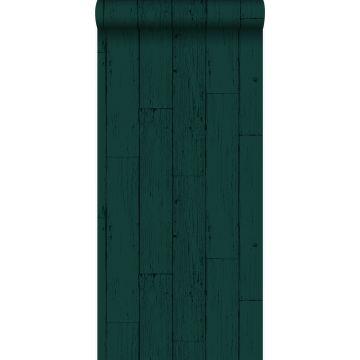 tapet slidte træplanker smaragdgrønt