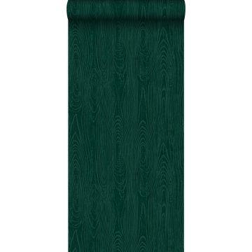 tapet træplanker med årer smaragdgrønt