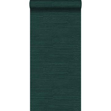 tapet grove retro naturstenblokke i halvstensforbandt smaragdgrønt