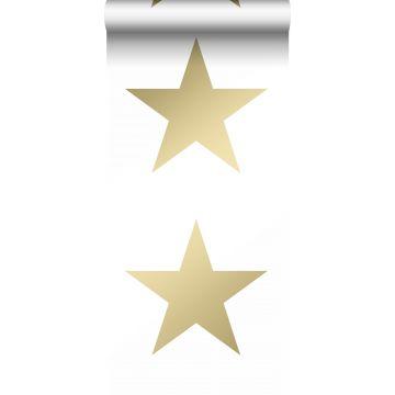 tapet stjerner hvidt og guld