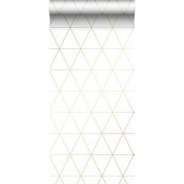 tapet grafiske trekanter hvidt og guld