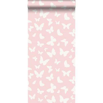 tapet sommerfugle skinnende rosa og hvidt