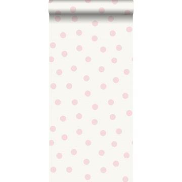 tapet prikker skinnende rosa og hvidt
