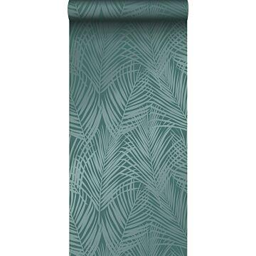 tapet palmeblade smaragdgrønt
