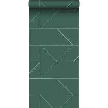 tapet grafiske linjer mørkegrønt
