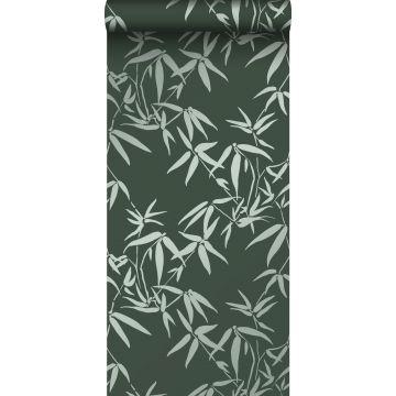 tapet bambusblade mørkegrønt
