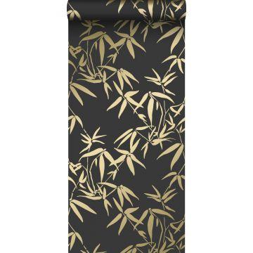 tapet bambusblade sort og guld