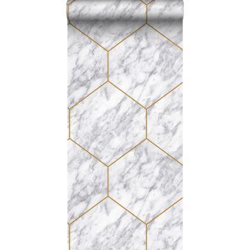 tapet sekskant med marmoreffekt hvidt, gråt og guld