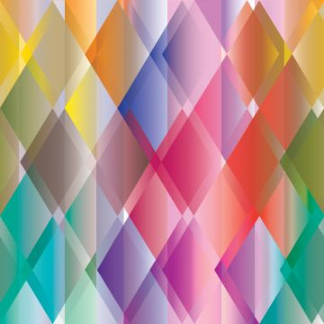 fototapet farverige trekanter gul, lyserødt, rødt, lilla og grønt