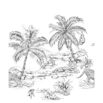 fototapet pennetegnet safari sort og hvidt