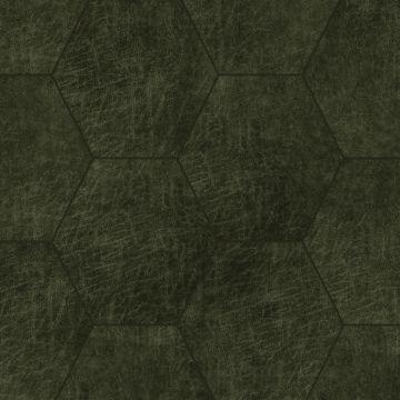 självhäftande väggpaneler eko-läder sekskant olivengrønt