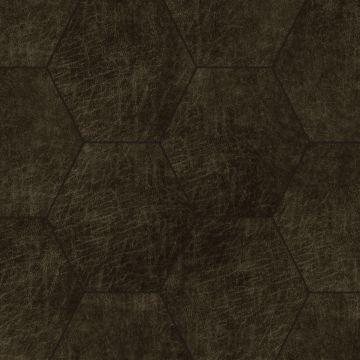 självhäftande väggpaneler eko-läder sekskant mørkebrunt